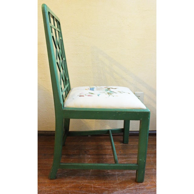 Early 20th Century Chinese Chippendale Style Painted Chairs- A Pair For Sale - Image 5 of 8