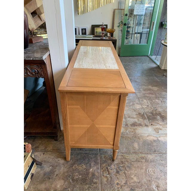 Absolutely beautiful and large! American of Martinsville buffet credenza or dresser! Extremely unique travertine top inlay...