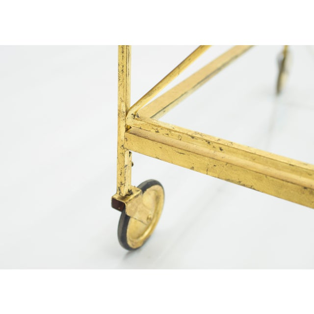 French Neoclassical Maison Jansen Gilded Iron Bar Cart 1960s For Sale - Image 10 of 12