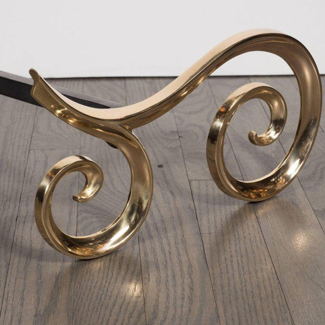 Modern Brass and Black Iron Scroll Form Andirons For Sale - Image 4 of 9