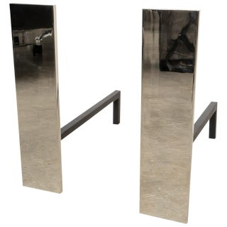 New Bespoke Nickel Plated Minimalist Moderne Andirons For Sale