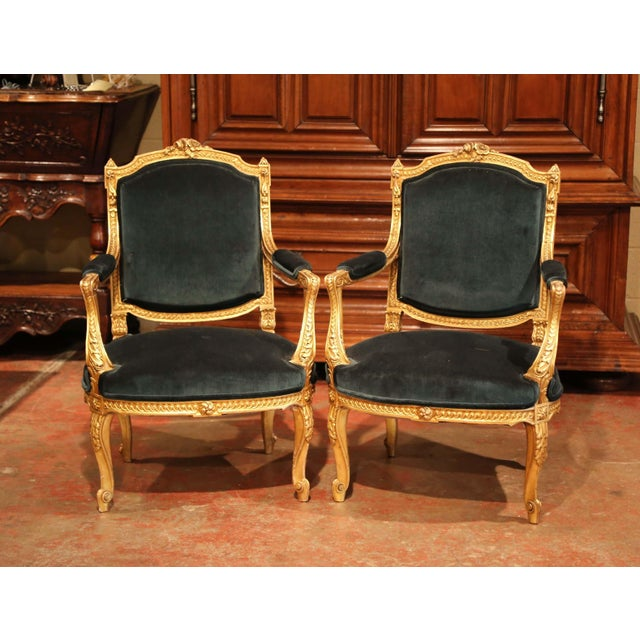 Pair of 19th Century French Louis XV Carved Giltwood Armchairs With Green Velvet For Sale - Image 11 of 11