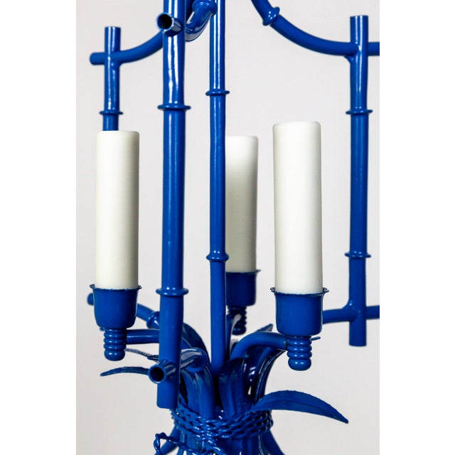 Palm Beach Style Blue Faux Bamboo Lanterns, Mid Century, Pair For Sale - Image 4 of 13