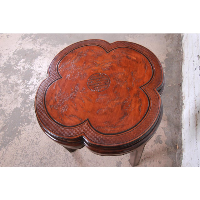 Drexel Heritage Drexel Heritage Carved Mahogany Hollywood Regency Chinoiserie Clover-Shaped Occasional Table For Sale - Image 4 of 8