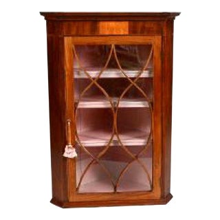 18th Century George III Inlaid Mahogany Hanging Corner Cabinet For Sale
