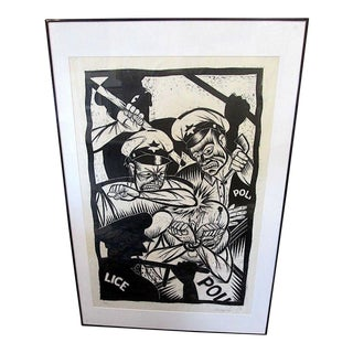 """Rare Thomas Shaw Artist Proof Limited Edition Woodblock Print """"The Malcolm X Paradox Tracks #4""""-Exhibited Huntington Museum of Art For Sale"""