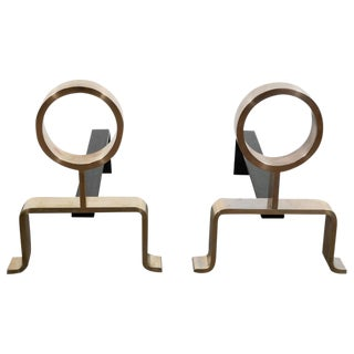 French Mid-Century Modern Geometric Brass Andirons, Manner of Jean Royère For Sale