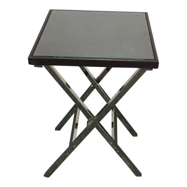 Hickory Chair Company Side Table With Leather Top - Image 1 of 7