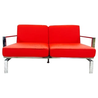 Mid-Century Milo Baughman Style Chrome Loveseat For Sale