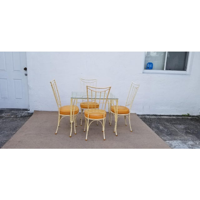 Vintage / Hollywood Regency - Brown Jordan Style Decorative Outdoor Dining Set. Four Chairs with Dining Table / 5 pieces....