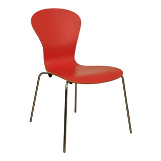 Knoll Studio Sprite Red Molded Plywood Chrome Base Side Chair For Sale