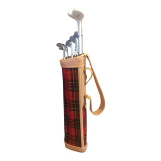 Vintage Red Tartan Scotish Plaid Golf Bag With Set of Ladies Wilson Clubs and Accessories For Sale