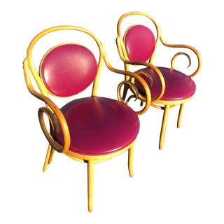 Pair of Vintage Bentwood Thonet Style Chairs in Violet For Sale