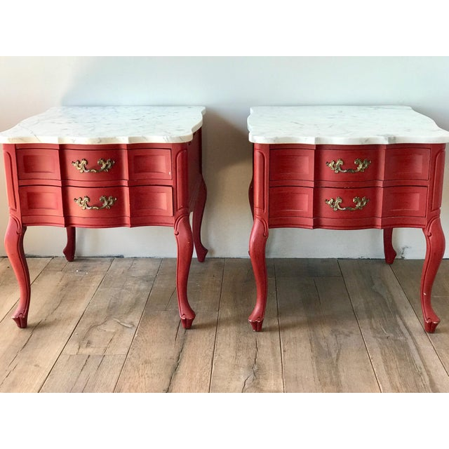 This beautiful pair of marble side tables is from the late 60s to early 70s. I had them professionally painted in an...