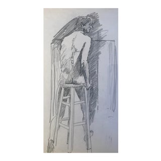 1980s Contemporary Graphite Drawing of Male Nude For Sale