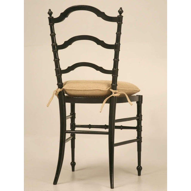 Black Original Antique French Napoleon III Ladderback Chair With New Linen  Pad For Sale - Image - World-Class Original Antique French Napoleon III Ladderback Chair
