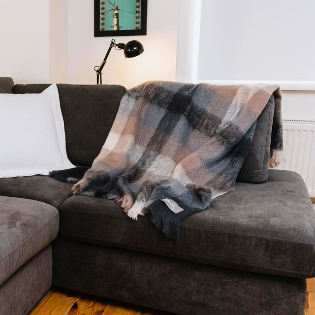 Charcoal White & Mink Check Mohair Throw For Sale - Image 9 of 10