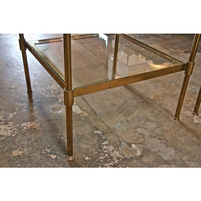 1960s Pair of Italian 1960s Two-Tier End Tables in Brass For Sale - Image 5 of 8