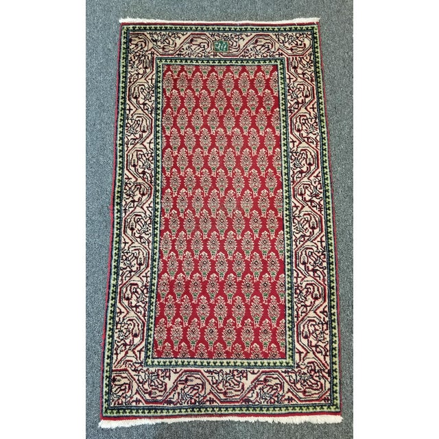 """Red 1950s Vintage Arak Persian Rug 2' 8"""" X 4' 9"""" For Sale - Image 8 of 8"""