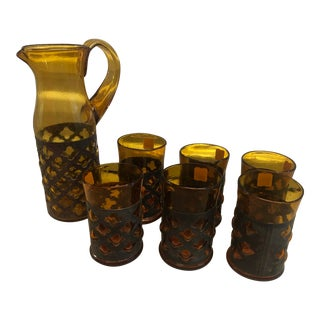 Mid-Century Modern Felipe Derflingher Caged Pitcher and Glasses - Set of 7 For Sale