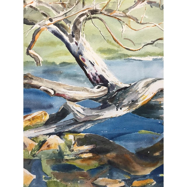 Thelma Moody 1960s Tree in River Painting - Image 5 of 5