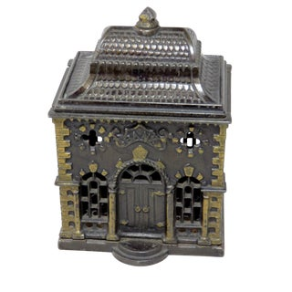 1880s Antique Cast Iron Coin Bank For Sale