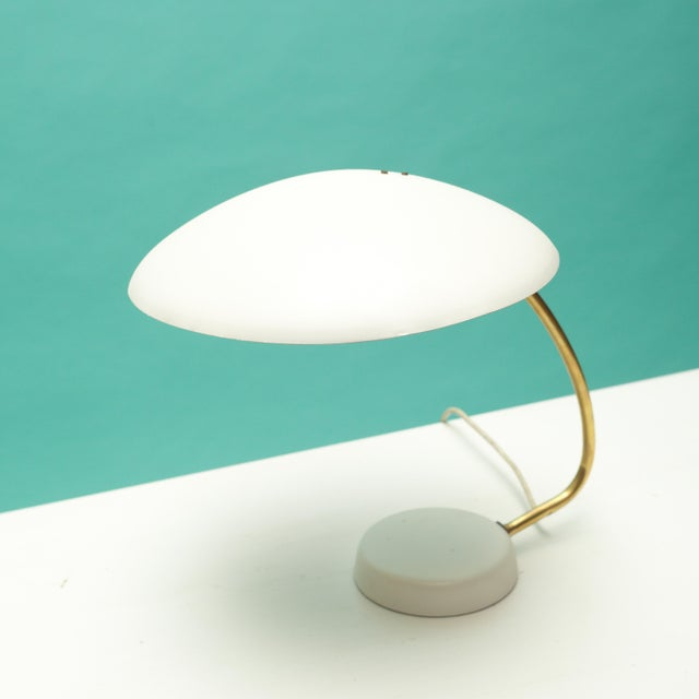 Bauhaus White and Brass Table Lamp For Sale In New York - Image 6 of 6