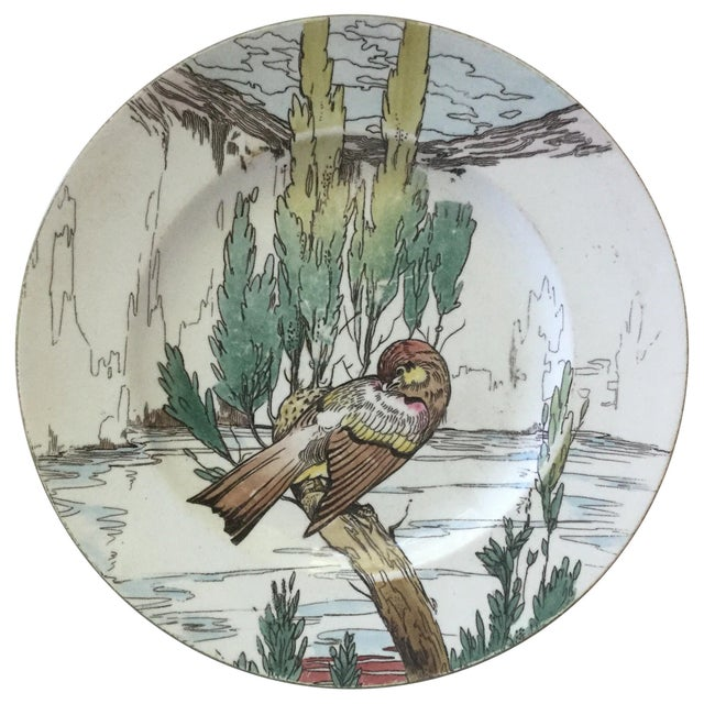 Large English Bird Plate Mintons, circa 1900 For Sale In Austin - Image 6 of 6