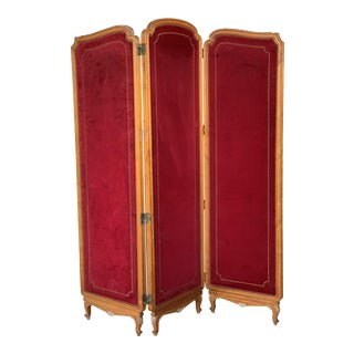 French Red Velvet Three-Panel Screen Adorned With Antique Brass Tacks For Sale