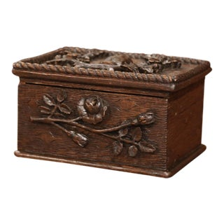 19th Century French Black Forest Carved Oak Letter Box With Foliage Decor For Sale