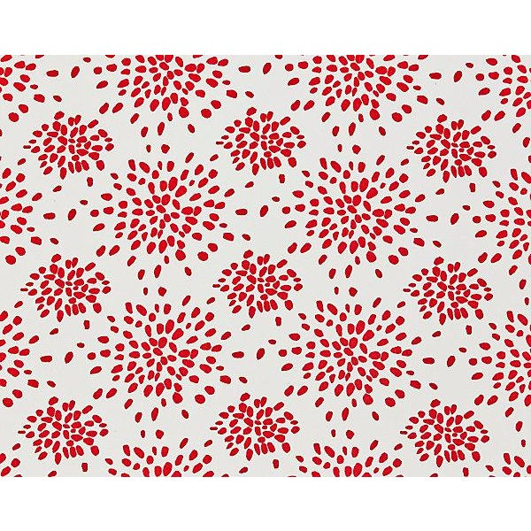 Contemporary Hinson for the House of Scalamandre Fireworks Fabric in Red on White For Sale - Image 3 of 3
