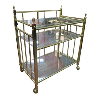 1960s Vintage Mid Century Modern Solid Brass 3 Tier Bar Cart For Sale