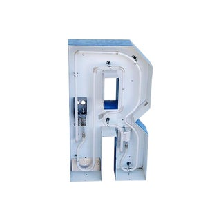 """Large 30"""" Tall Industrial Blue & White Metal Marquee Letter R"""