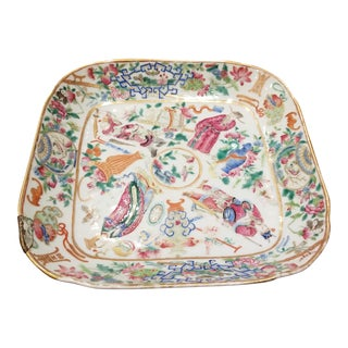 Antique Chinese Famille Rose Square Platter For Sale