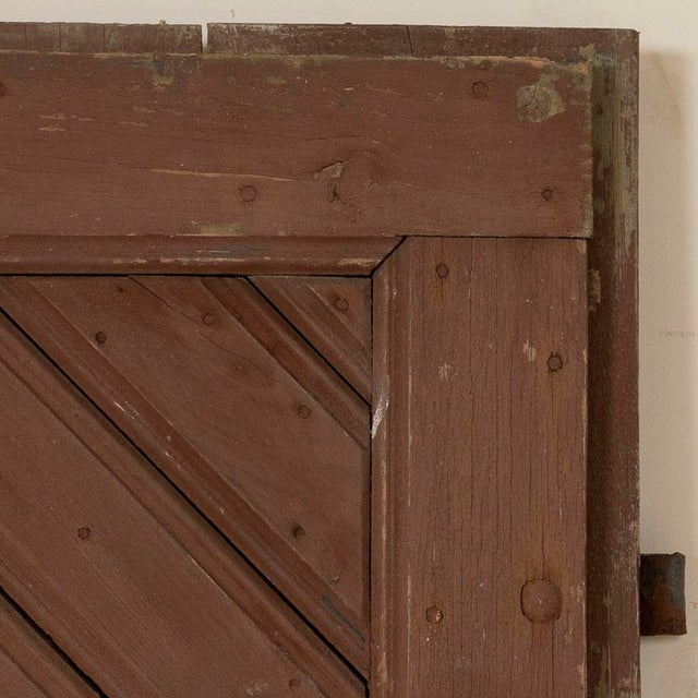 Wood Antique Original Brown Painted Barn Doors - a Pair For Sale - Image 7 of 9