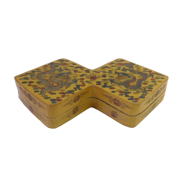 Yellow Lacquer Double Rhombus Painted Box - Image 2 of 7