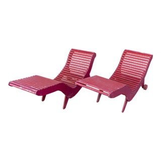 Klaus Grabe C5 Plywood Chaise Lounges - A Pair For Sale