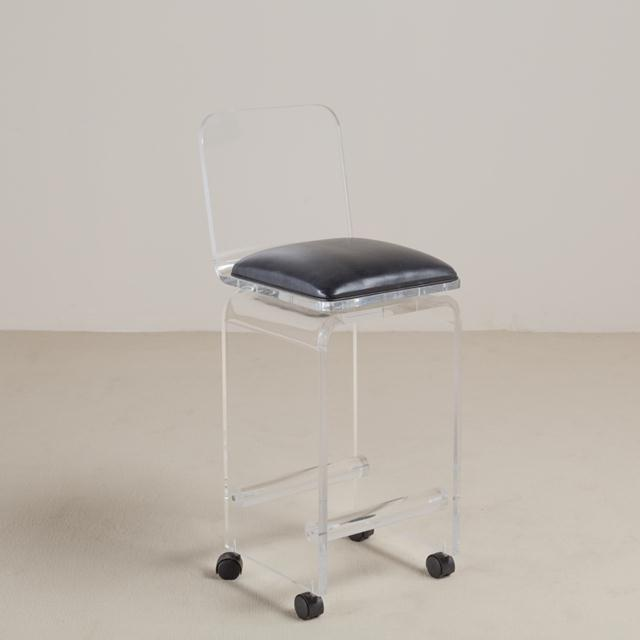 Pair of Lucite Faux Leather Swivel Bar Stools, 1980s For Sale - Image 4 of 7