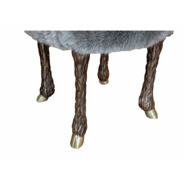 Contemporary Marc Bankowsky - Stool With Goat Feet in Bronze and Velvet Mohair, France, 2016 For Sale - Image 3 of 5