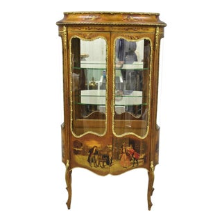 19th Century French Louis XV Hand Painted Vernis Martin Vitrine China Cabinet For Sale