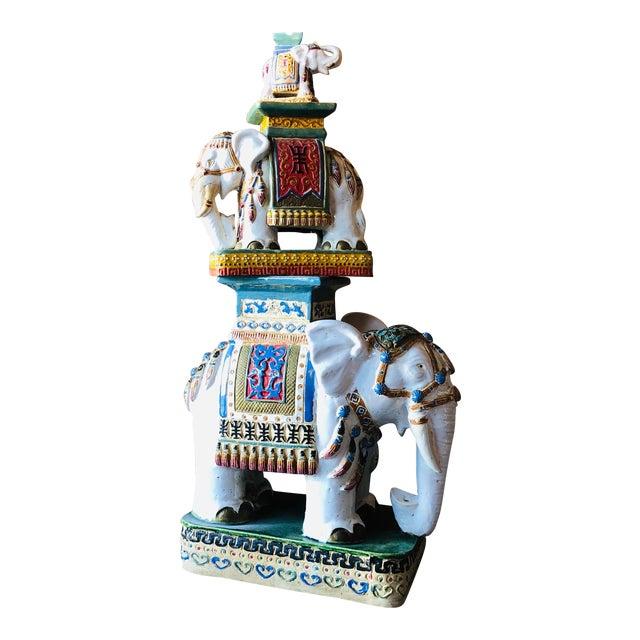 Ceramic Palm Beach Hollywood Regency Elephant - Set of 3 For Sale