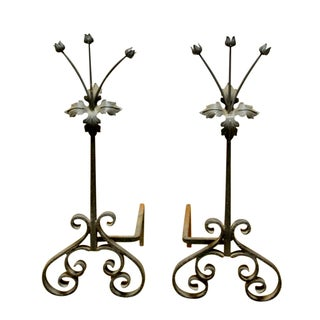 French Floral Art Nouveau Andirons - A Pair For Sale