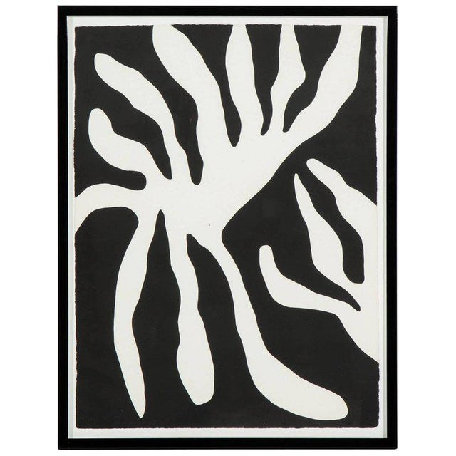 White 1960s Abstract Scree Print of Leaf Form by William Turnbul For Sale - Image 8 of 8