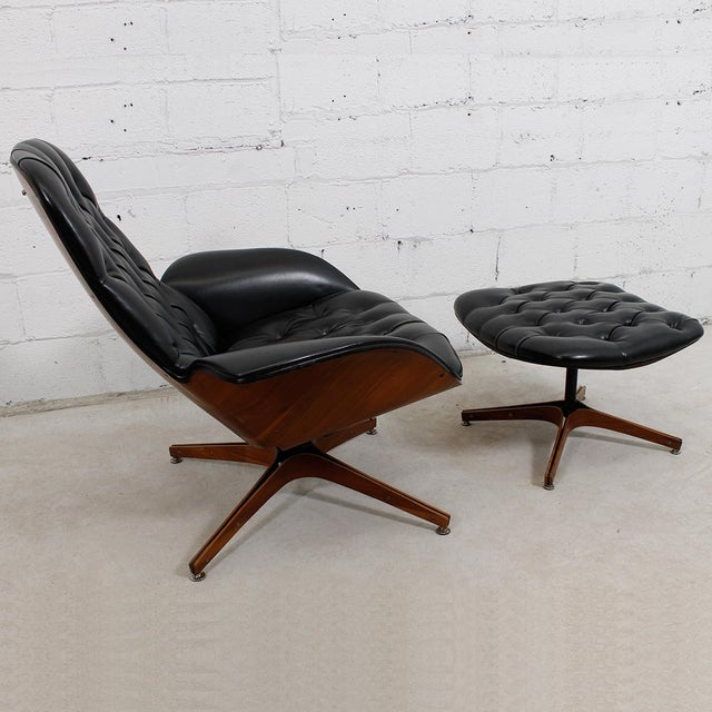 MCM Mulhauser Molded Wood Lounge Chair & Ottoman - Image 5 of 10
