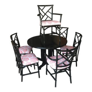 1950's Black Lacquered Bamboo Chinoiserie Dining Set