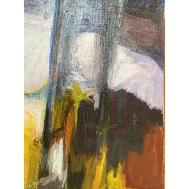 White Mid 20th Century Abstract Oil Painting For Sale - Image 8 of 11