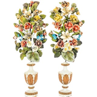Antique Italian Tole Peinte Floral Topiaries - a Pair For Sale