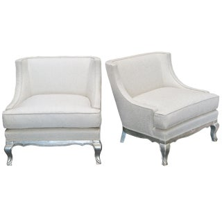 1940s Vintage French Silver Leaf Lounge Chairs- A Pair For Sale