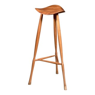 Karl Seemuller Studio Craft Teak Stool, Usa, 1973. For Sale