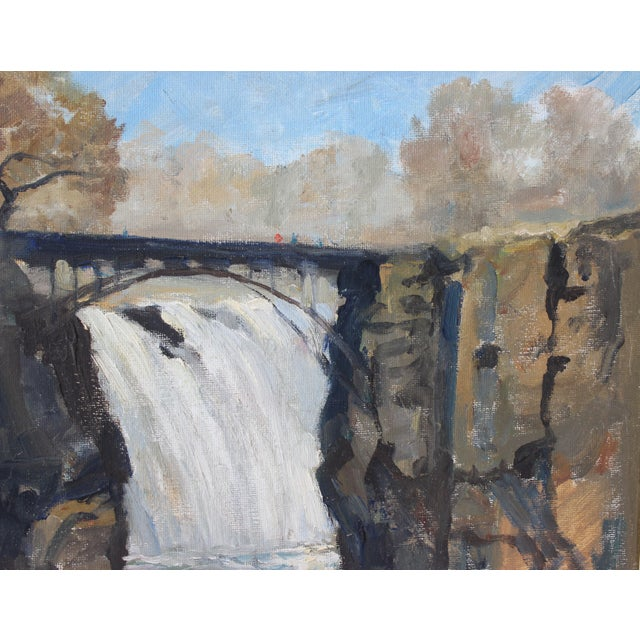 """Canvas Vintage Oil Painting """"Paterson Falls"""" John Elliot, Opa For Sale - Image 7 of 12"""